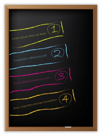 Advertising labels drawn on chalkboard with chalk Stock Vector - 14264667