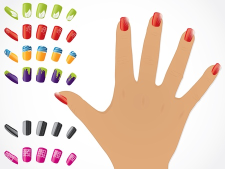 uñas pintadas: Mano femenina con las uñas pintadas de brillantes editable