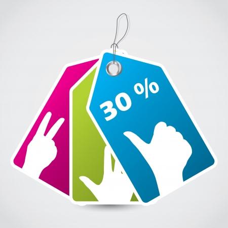 druckerei: Werbung Farbetikett mit Handzeichen gesetzt Illustration