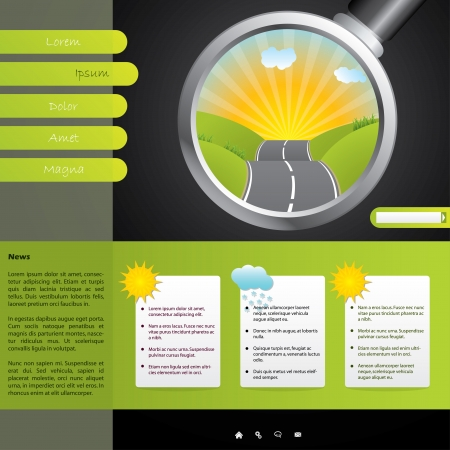 Touristic website design template with weather forecast Vector