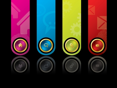 Colorful wesbite design template with main menu Vector