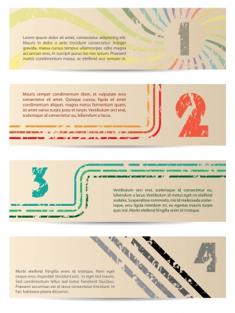 cool background: Retro banner set with gradation from 1 to 4