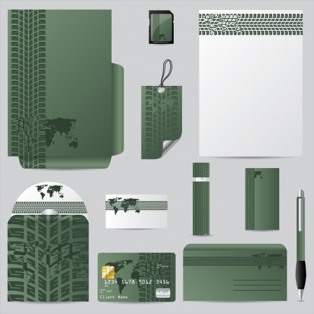 editable: Stationary vector set with tire track and world map