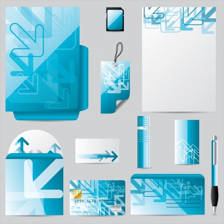 Stationary business set with abstract arrow design Vector