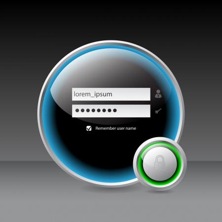 lösenord: Glansigt inloggningsskärmen med hänglås framför