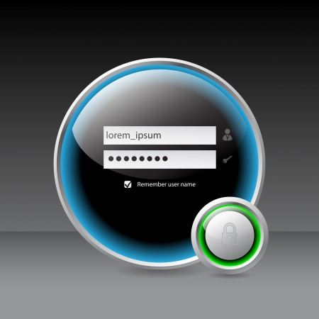 personal banking: Glossy login screen with padlock symbol in front