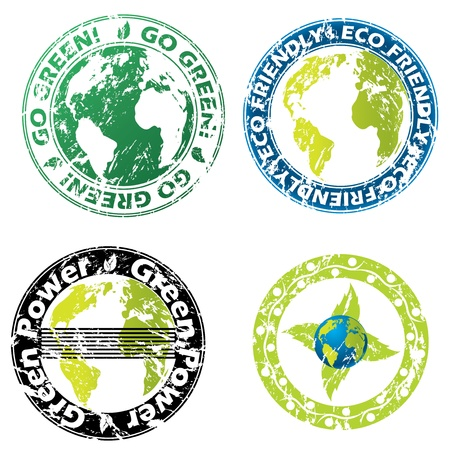 Grunge eco friendly seal set of four Stock Vector - 14399769
