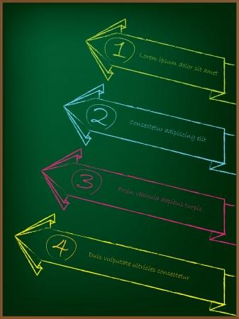 Advertising arrow label set on greenish chalkboard  photo