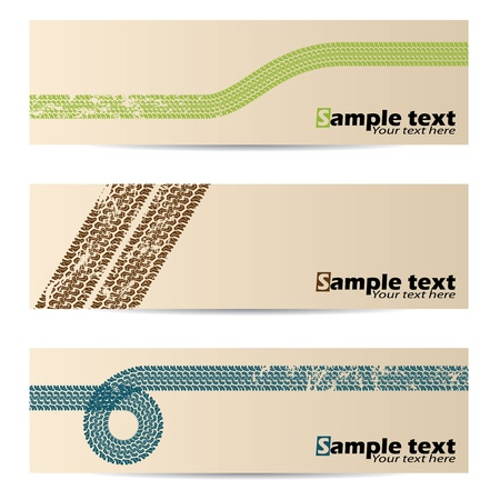 tyre tread: Cool retro banners with tire track design