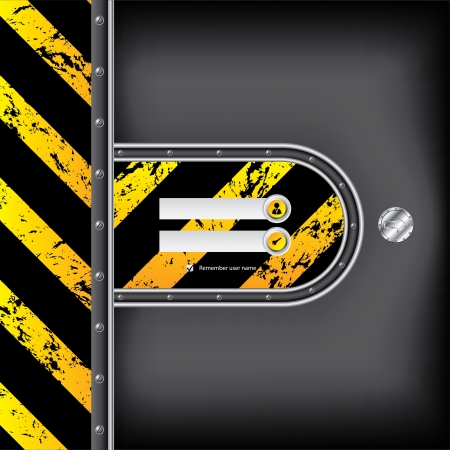 Abstract industrial login interface with metallic arrow button photo