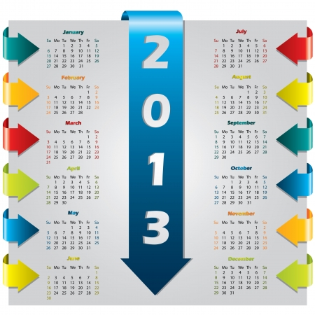 Colorful arrow design calendar for year 2013  Stock Vector - 14741026
