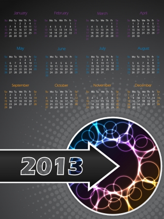 Abstract 2013 calendar with cool plasma effect Vector