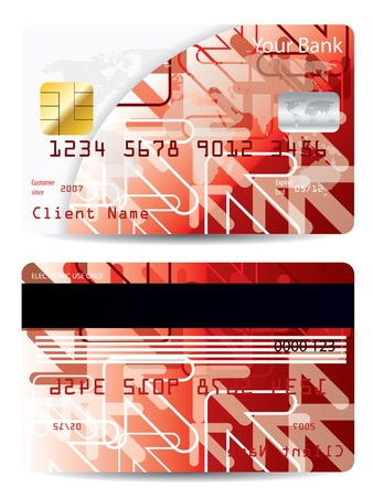 Red credit card with cool arrow design  Vector