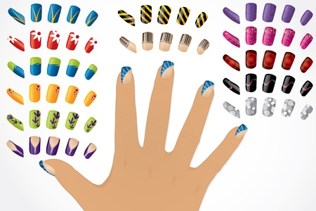 toe: Female hand with changeable painted glossy nails  Illustration