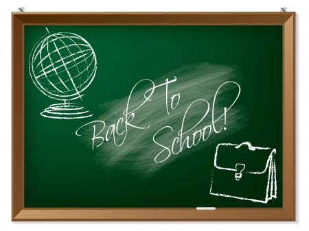Back to school drawing on chalkboard hanging on the wall Vector