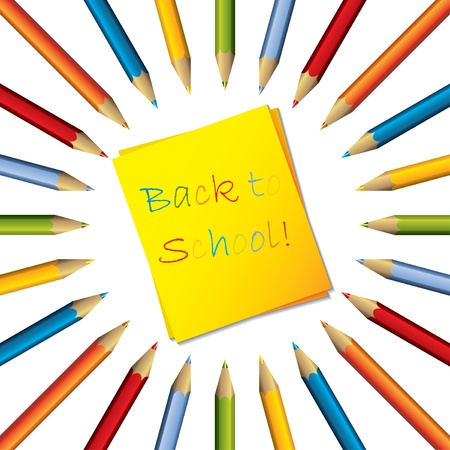 Sticky yellow note with text and surrounding color pencils Vector