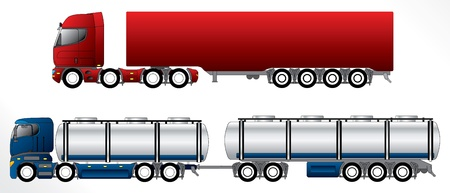 B double road trains with 4 axles on pulling truck Illustration