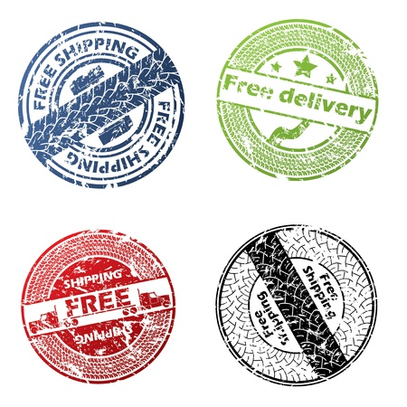 Free delivery seal vector set of four Vector