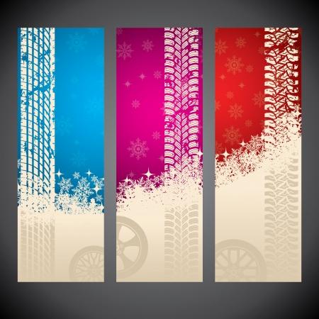 Winterband reclame label set van drie Vector Illustratie