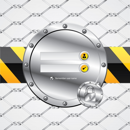 authentication: Industrial wire fence theme login screen with padlock Illustration
