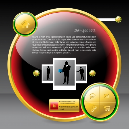 Shiny button shaped website template design with golden elements Vector