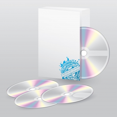 Editable open box with blank disc set and free shipping Vector