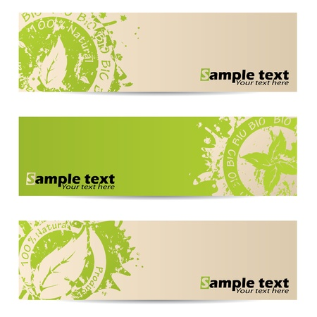 Bio banner set with leaf seal design Illustration