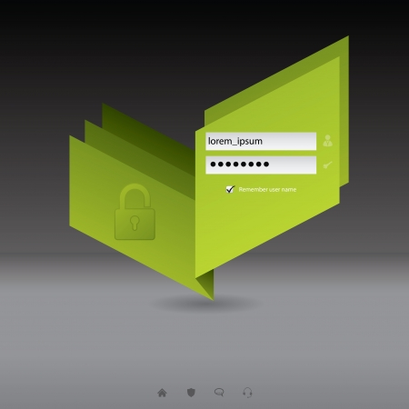 Origami login screen with green padlock design