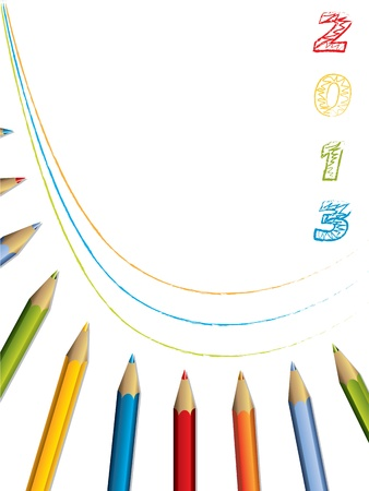Abstract 2013 brochure design with color pencils Vector