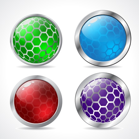 Abstract 3d button designs with hexagon elements Stock Vector - 15193252