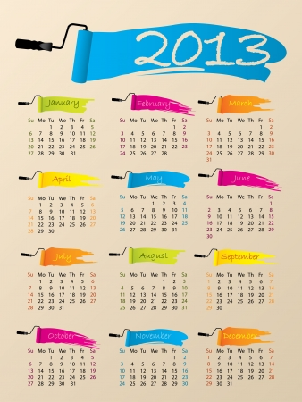 blue paintroller: Painted 2013 calendar design on pale background