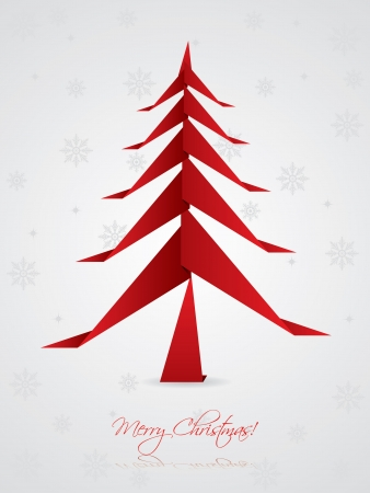 christmastree: Christmas greeting card design with origami tree