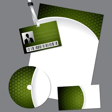 lanyard: Hexagon establecer negocios con cd, tarjeta y cord�n Vectores