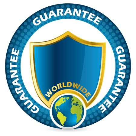 blue shield: Worldwide guarantee icon design in blue and gold colors