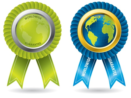 Worldwide guarantee set of badges for many products Illustration
