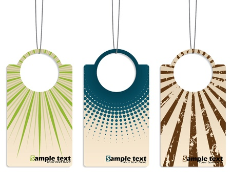 Cool retro design hanging label set of three