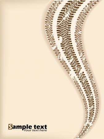 tread: Retro background design with wave tire track
