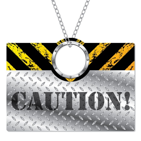 Shiny metallic caution sign hanging on chains  Stock Vector - 15193236
