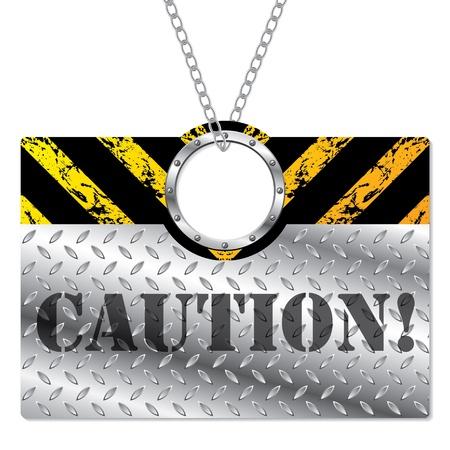 hazard stripes: Shiny metallic caution sign hanging on chains