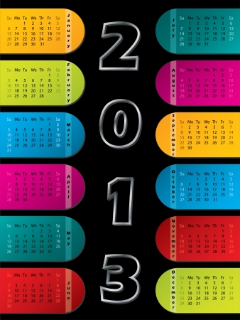 2013 calendar with colorful labels on dark background Stock Vector - 15098979