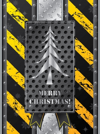 Metallic christmas card with grunge industrial design Vector