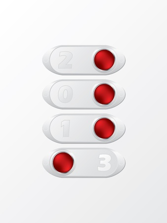Switching to year 2013 with buttons on  white background Vector