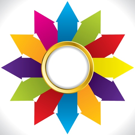 success concept: Abstract flower shaped arrow background design with golden ring