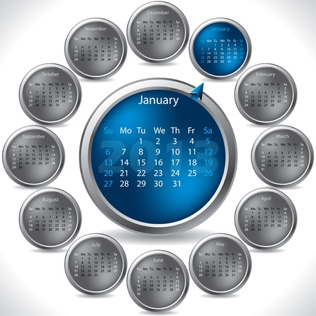 Cool button shaped rotateable calendar for 2013 Vector