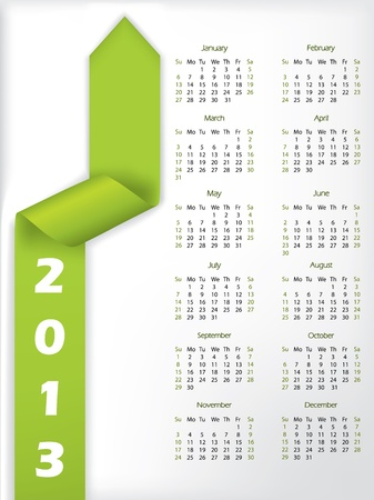2013 calendar with arrow shaped green ribbon  Stock Vector - 15516375