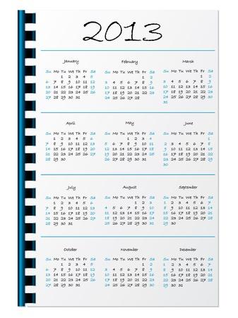 Hand written 2013 calendar on white notepaper Stock Vector - 15516404