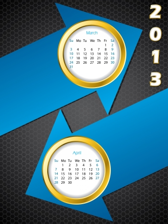 2013 arrow calendar for march and april months Vector