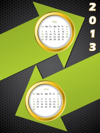 2013 arrow calendar for may and june months Vector