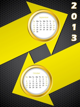 2013 arrow calendar for september and october months Vector