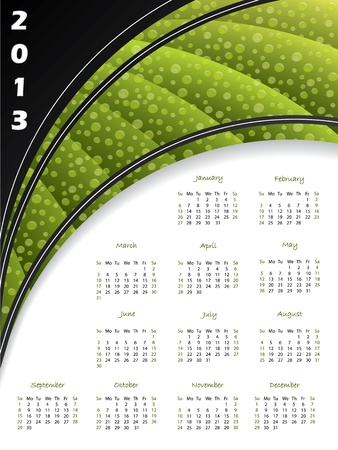 2013 green striped calendar with water drops Stock Vector - 15516402